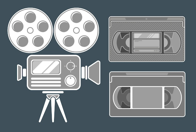 Eine vektorillustration des grauen filmsymbols auf dunklem hintergrund