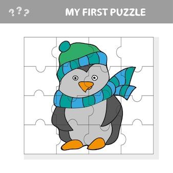 Eine vektorillustration des pinguinpuzzles für vorschulkinder - mein erstes puzzle