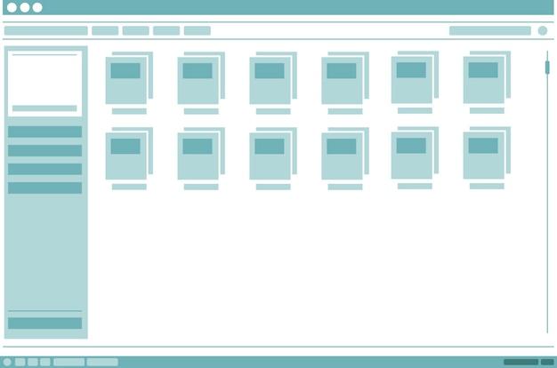 Eine vektorillustration des schnittstellenrahmenfensters mit ordnerdesign