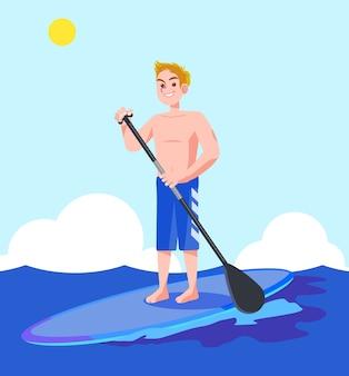 Eine vektorillustration eines mannes, der das surfen genießt