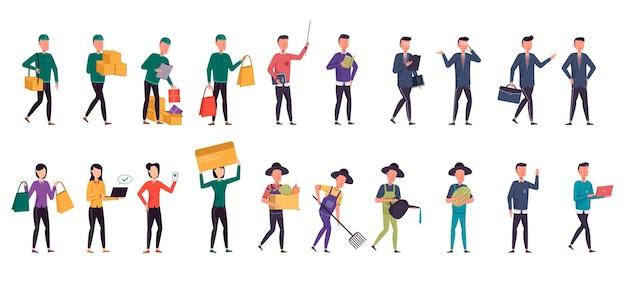 Eine vielzahl von job-bundles für das hosting von illustrationsarbeiten wie landwirt, betreiber, geschäftsmann, käufer, zusteller und büropersonal