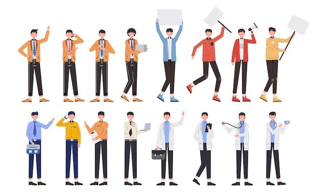 Eine vielzahl von job-bundles für das hosting von illustrationsarbeiten wie lieferung, büropersonal, geschäftsmann, arzt, demonstrant einen weißen hintergrund. flache gestaltung der vektorillustration