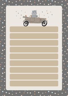 Eine vorlage für einfache planer und aufgabenlisten für kinder mit niedlichen illustrationen in pastellfarben. kinderplaner, zeitpläne, agenda, checklisten und anderes babybriefpapier im skandinavischen stil.