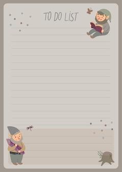 Eine vorlage für einfache planer und aufgabenlisten für kinder mit niedlichen illustrationen in pastellfarben.