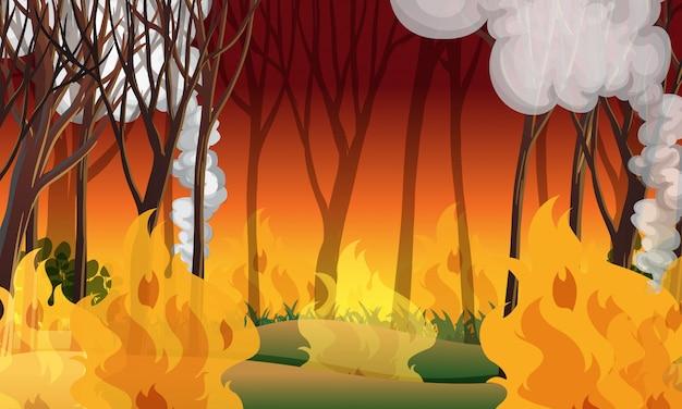 Eine waldbrandkatastrophenlandschaft