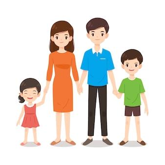 Eine warme und glückliche familienkarikatur
