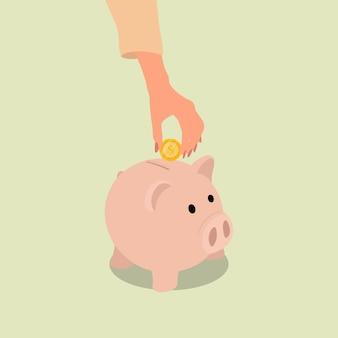 Eine weibliche hand legte eine münze ins sparschwein, um zu sparen. flacher stilentwurfsvektor
