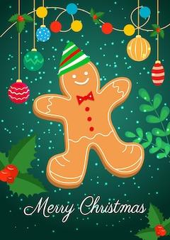 Eine weihnachtskarte mit einem weihnachtslebkuchenmann in einer mütze. vektor-illustration.