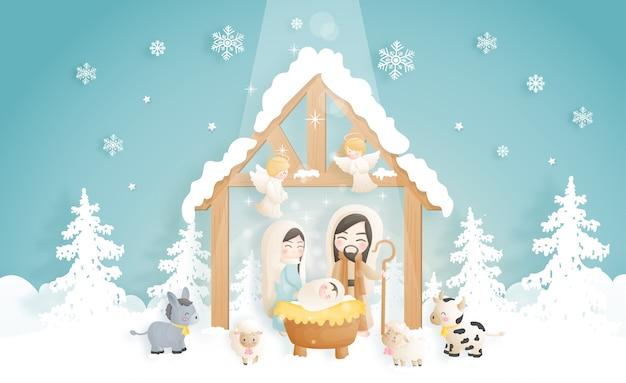 Eine weihnachtskrippe karikatur, mit jesuskind, maria und joseph in der krippe mit esel und anderen tieren. christliche religiöse illustration.