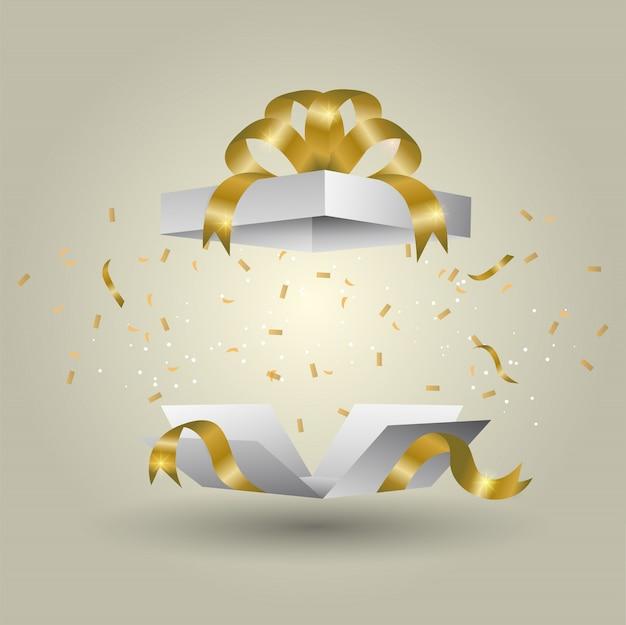 Eine weiße geschenkbox gebunden mit einem goldenen band explosion des goldfarbsteigungshintergrundes