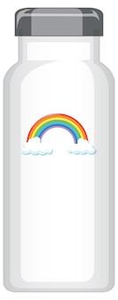 Eine weiße thermosflasche mit regenbogenmuster