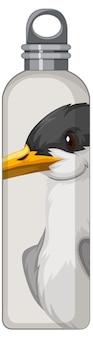 Eine weiße thermosflasche mit vogelmuster