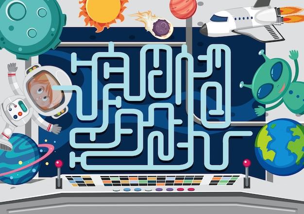 Eine weltraumlabyrinth-spielvorlage
