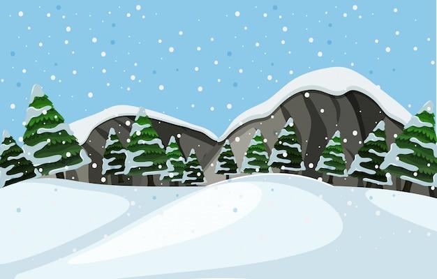 Eine winterlandschaft im freien