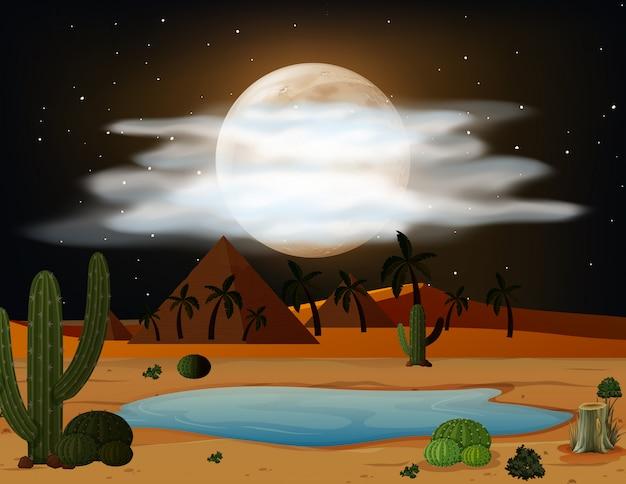 Eine wüstenszene bei nacht