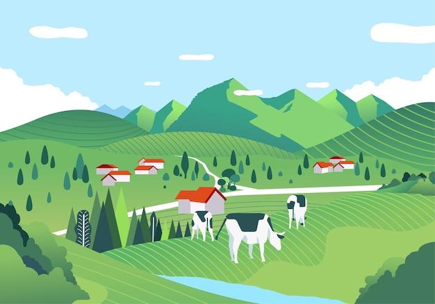 Eine wunderschöne landschaft mit einer weiten grünen wiese, hügeln und kühen weiden. wird für poster, banner und webbilder verwendet