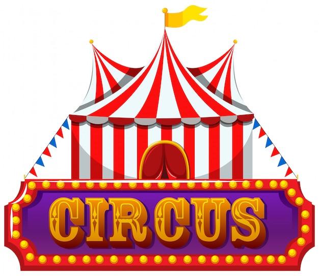 Eine zirkus-fahne auf weißem hintergrund