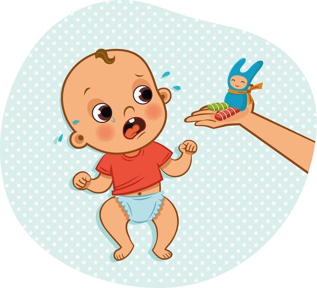 Einem weinenden baby ein spielzeug geben vektorillustration