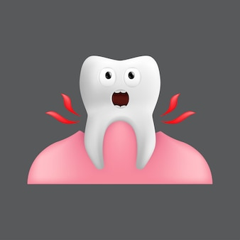 Einen schreienden zahn aus dem zahnfleisch ziehen. netter charakter mit gesichtsausdruck. lustig für kinderdesign. realistische darstellung des zahnkeramikmodells lokalisiert auf grauem hintergrund