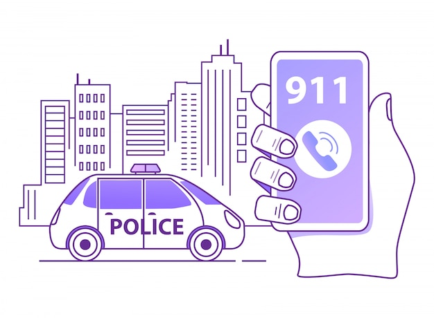 Einen streifenwagen der polizei rufen. umriss hand hält smartphone. mobile notfallanwendung.
