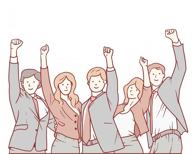 Einen triumph mit den armen nach oben feiern.