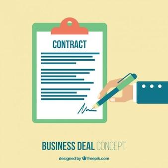 Einen vertrag unterschreiben