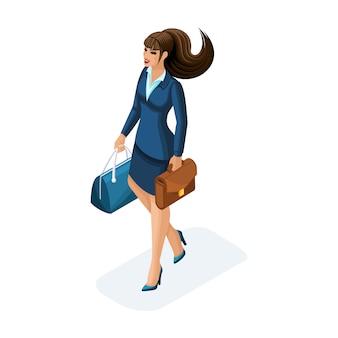 Einer schönen frau auf geschäftsreise, kommt mit ihrem gepäck. eleganter business-anzug. reisende geschäftsdame
