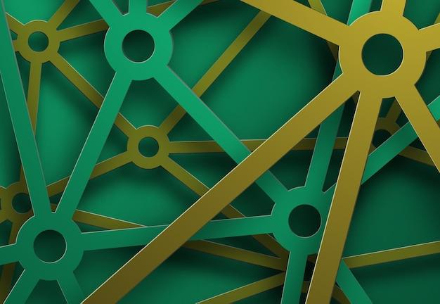 Eines vektorhintergrunds mit kaskadierenden grünen und gelben metallstreifen, teile des netzwerks.