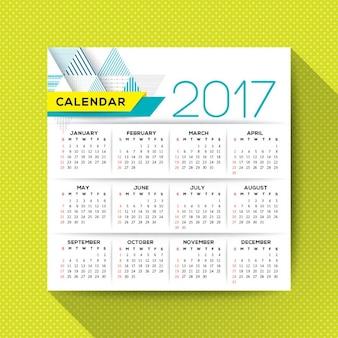 Einfache 2017 kalender vektor-vorlage beginnt die woche von sonntag quadratischem grundriß