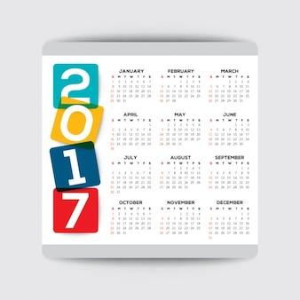 Einfache 2017 kalender vektor-vorlage woche beginnt ab sonntag