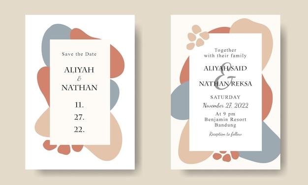 Einfache abstrakte handgezeichnete form hochzeitseinladungskartenvorlage