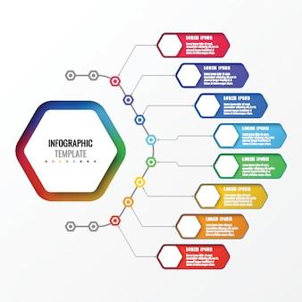 Einfache acht optionen entwurfsvorlage layout infografik mit sechseckigen elementen. geschäftsprozessdiagramm