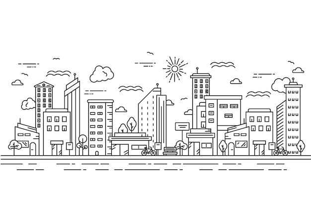 Einfache ansichtsstadtillustration im dünnen linienstil