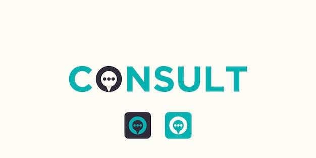 Einfache arbeitsmarke konsultieren logo mit blasenkonzept.