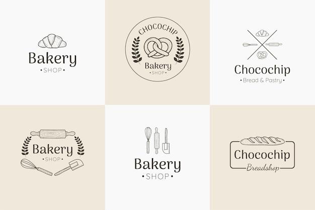 Einfache bäckerei logo set sammlung