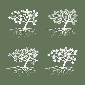Einfache bäume. umweltsymbolbaum-illustrationssatz. sammlung des künstlerischen umrissbaums mit laub