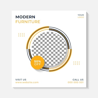 Einfache banner-post-hintergrund-layout-vorlage für das außen- und möbelhausgeschäft