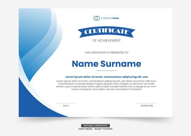 Einfache blaue farbverlaufs- und moderne zertifikatsvorlage