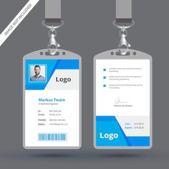 Einfache blaue geometrische id card design-vorlage