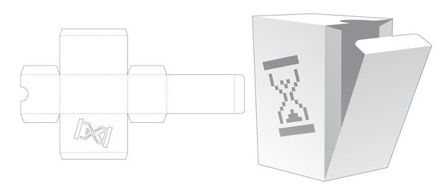 Einfache box mit schablonen-sanduhr in pixel-art-stil gestanzte vorlage