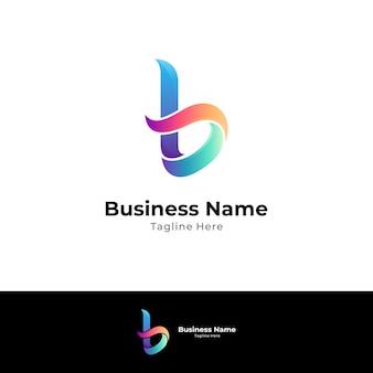 Einfache buchstaben b-logo-designvorlage mit farbverlaufsstil