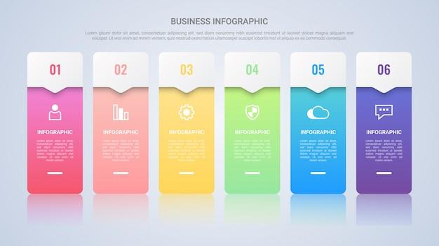Einfache bunte infographic-schablone für geschäft mit sechs schritt-mehrfarbenlael