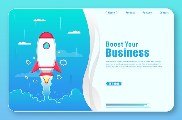 Einfache business-landing-page mit raketenformen