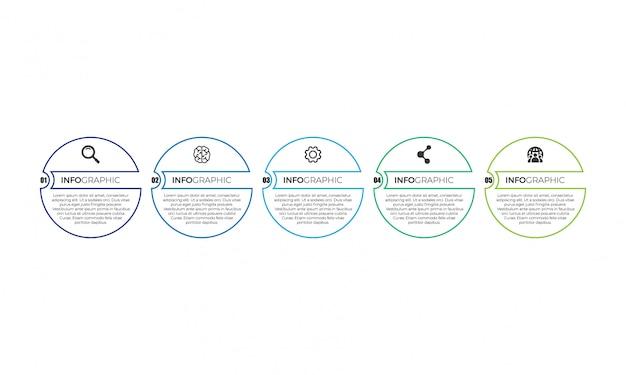 Einfache dünne linie infografik