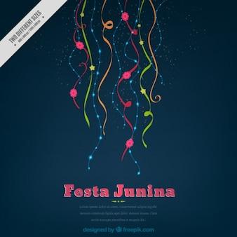 Einfache festa junina hintergrund mit farbigen streamer