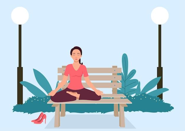 Einfache flache vektorillustration der frau, die yoga auf einer bank am park tut
