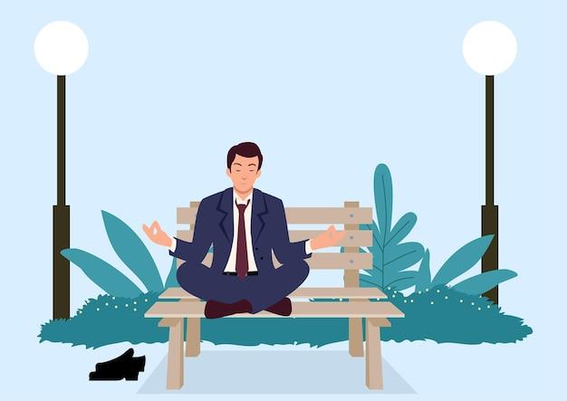 Einfache flache vektorillustration des geschäftsmannes, der yoga auf einer bank am park tut