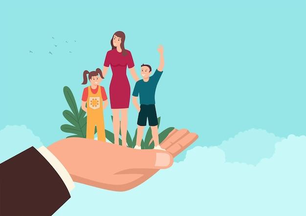 Einfache flache vektorillustration einer mannhand, die eine mutter mit ihren kindern, familienunterstützung, versicherung, verantwortliches konzept hält