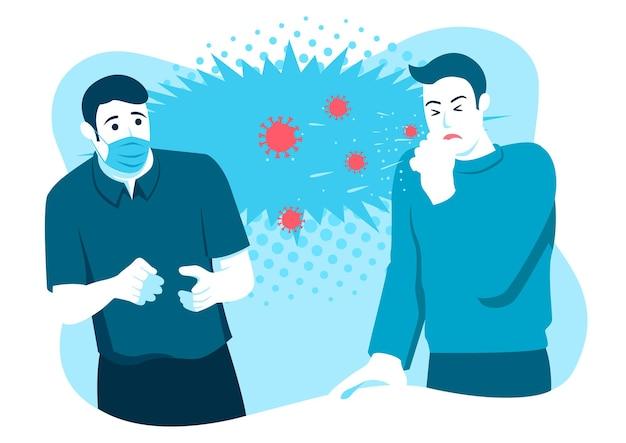 Einfache flache vektorillustration eines mannes, der angst hat, dass sein freund vor ihm niest, ohne maske zu tragen. coronavirus covid-19 thema. karikaturartillustration