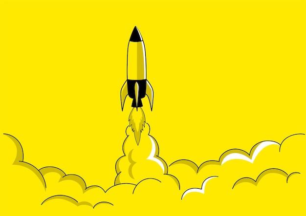 Einfache flache vektorillustration eines raketenstarts, konzept für start-up-geschäft